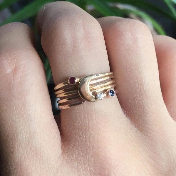 Gold mothers ring set, personalized stacking ring set, birthstone ring stack Love you to the moon and back stack, crescent moon ring