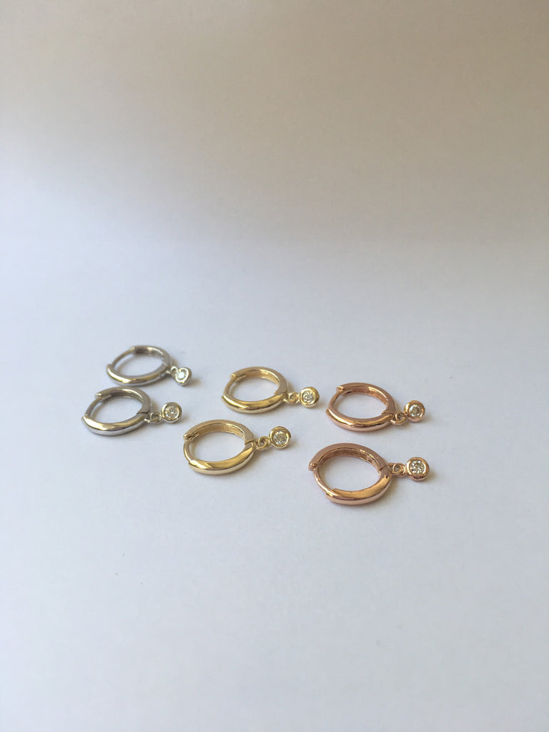 Small diamond charm hoop, small 14k gold diamond hoop, small gold hoop, gold hoops, diamond hoop earrings, mini diamond hoop