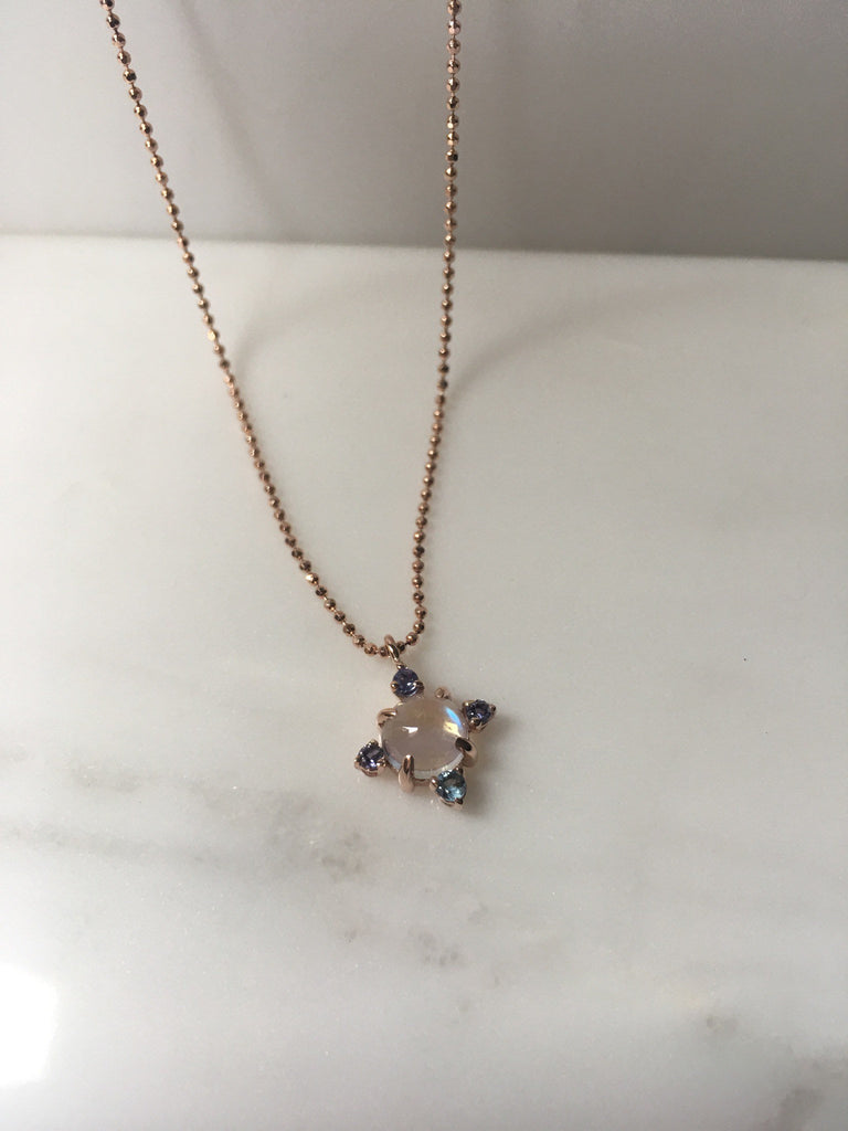Compass Moonstone Necklace, round moonstone aquamarine iolite & tanzanite necklace, 14k gold moonstone cross necklace, pendant necklace