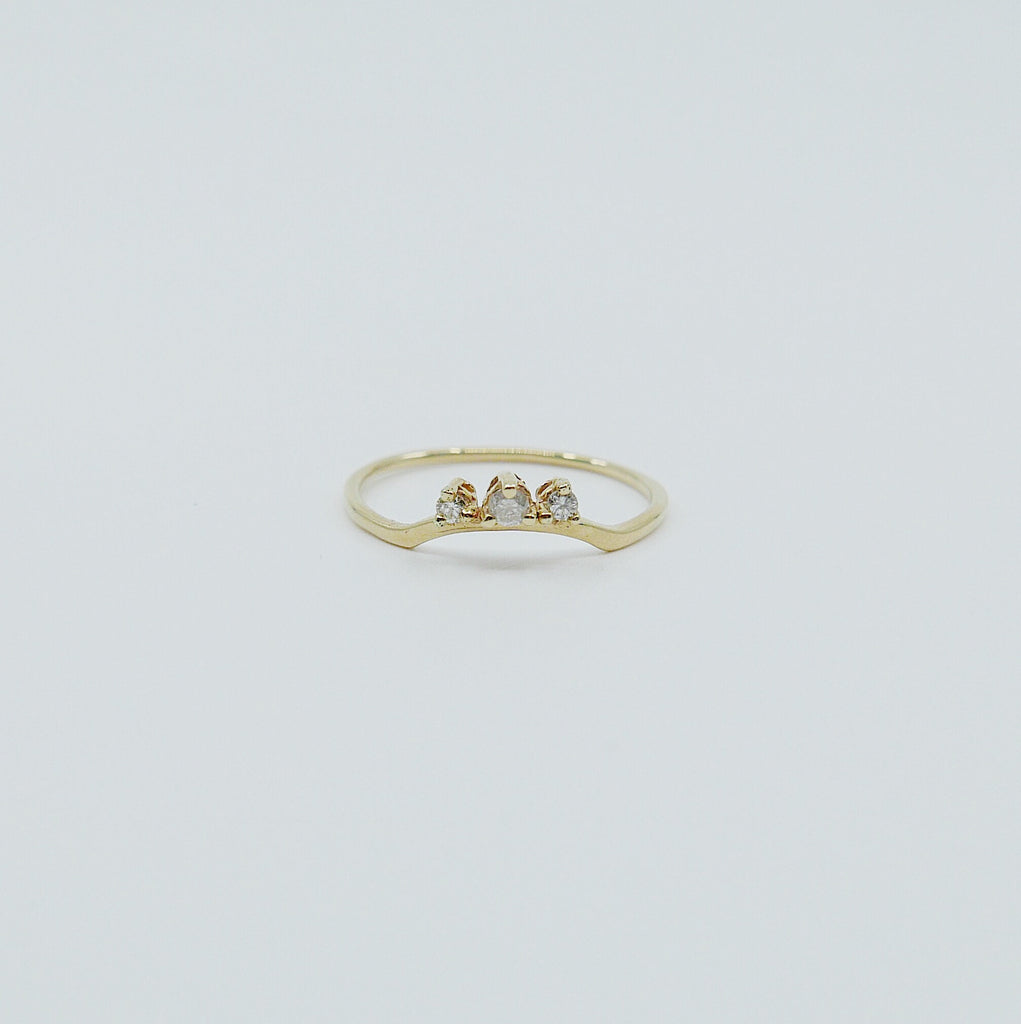 Clustered Nesting diamond band, 3 stone gold arch ring, stacking ring, diamond and wedding ring, wedding band