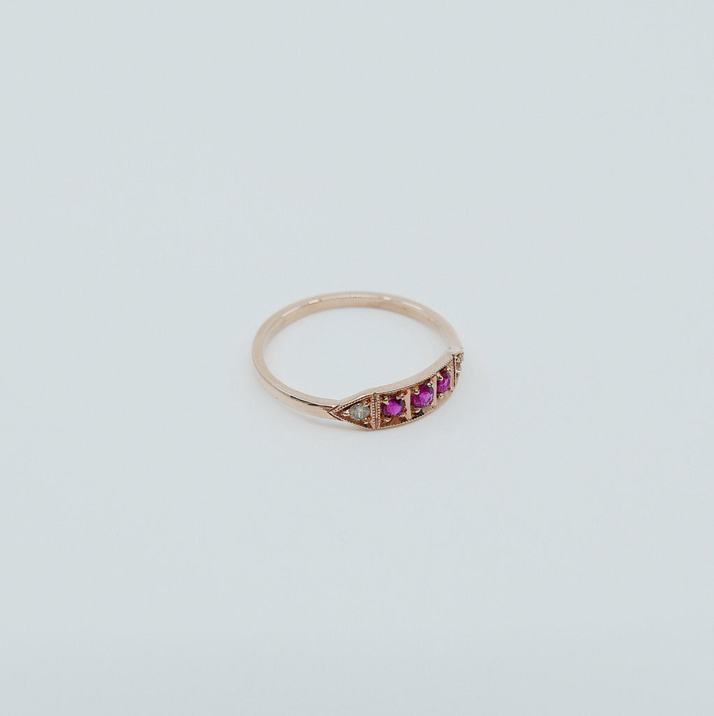 Ms. Goodbar ruby ring, 14k Stacking ring, Diamond and ruby ring, Five stone ring, Diamond Bar ring, Ruby Bar ring, Dainty band