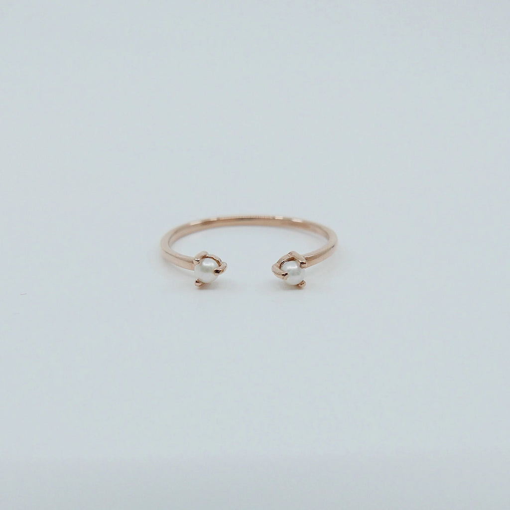 Mini Pearl cuff Ring, open Pearl Stacking ring, Simple pearl ring, Pearl open band, small pearl cuff ring, dainty gold pearl band