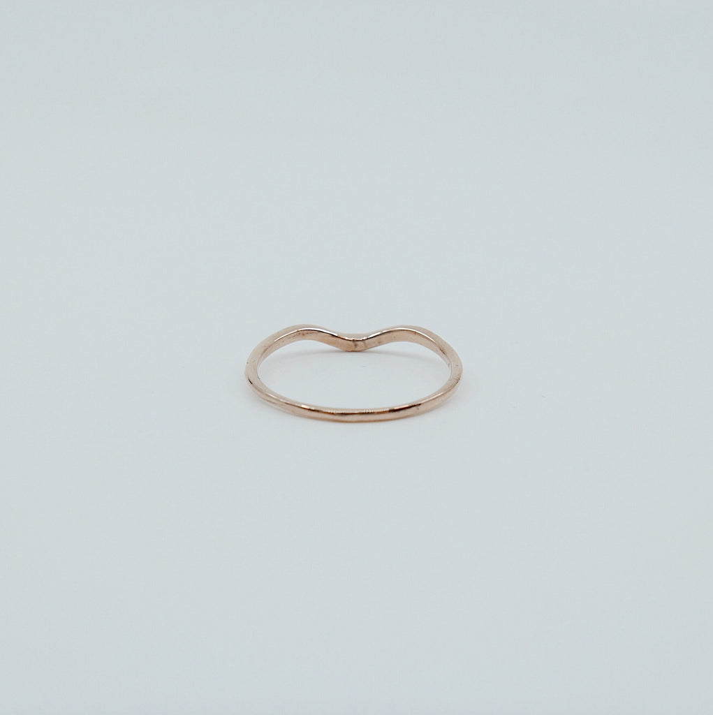 Plume Arc Diamond Ring, 14k gold nesting ring, stacking ring, wedding band, thin delicate dainty ring, thin band, hand engraved gold ring
