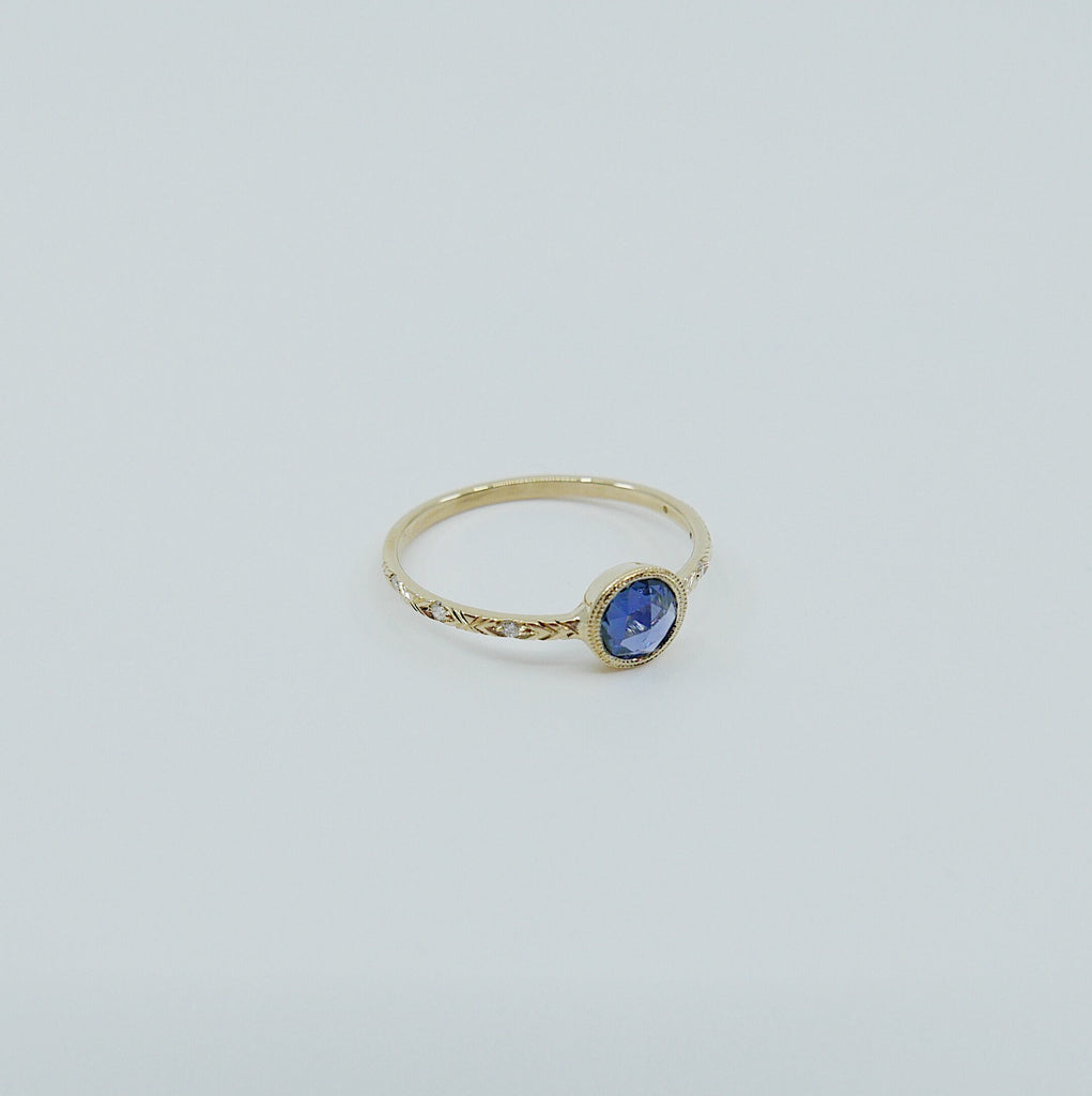 Juliette engraved diamond band rose cut blue sapphire ring, gold solitaire ring, bezel stone ring, 14k gold sapphire ring, gold diamond band