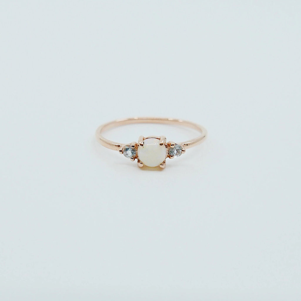 Penny Opal three stone ring, three stone ring, opal and aquamarine ring, 14k gold opal ring, 3 stone opal ring