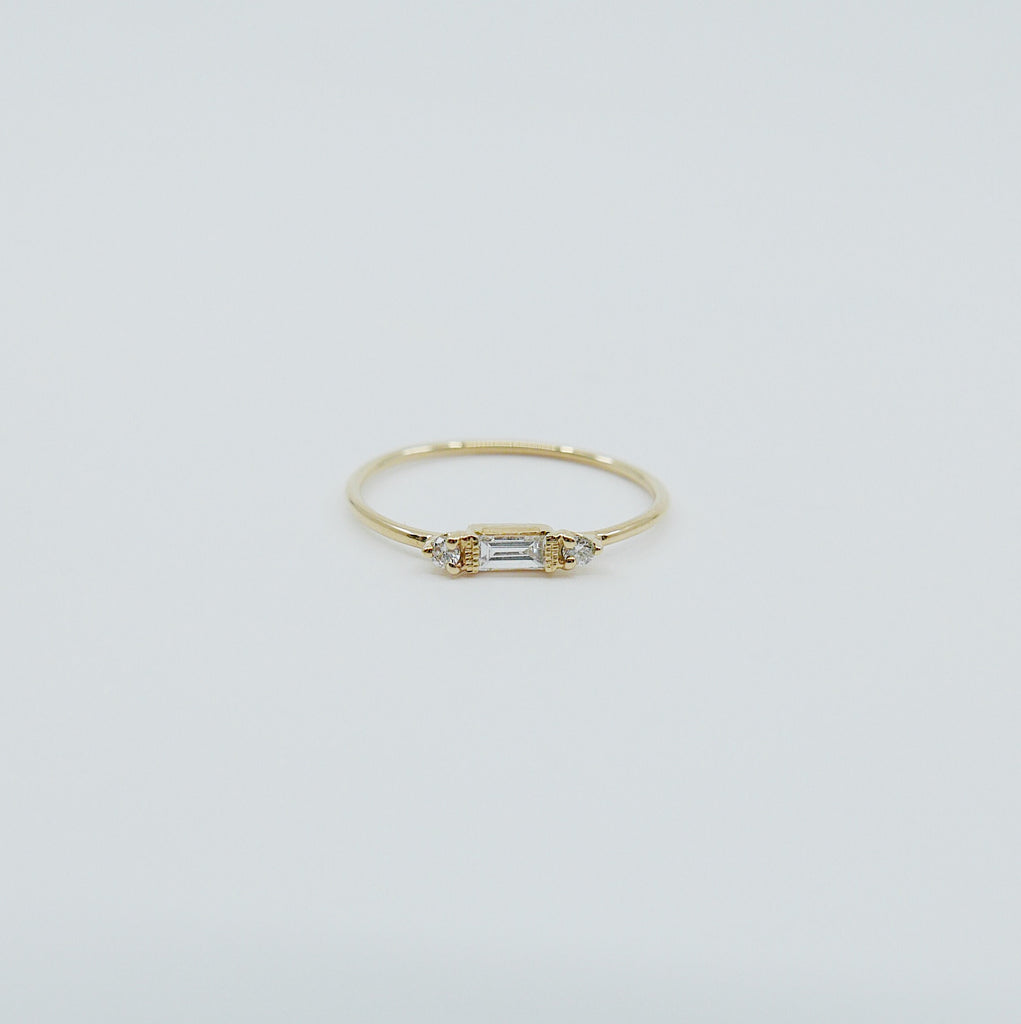 Grand Baguette Ring, 14k Stacking baguette ring, Diamond baguette ring, Three stone ring, Diamond stacking ring, Baguette band, Dainty ring