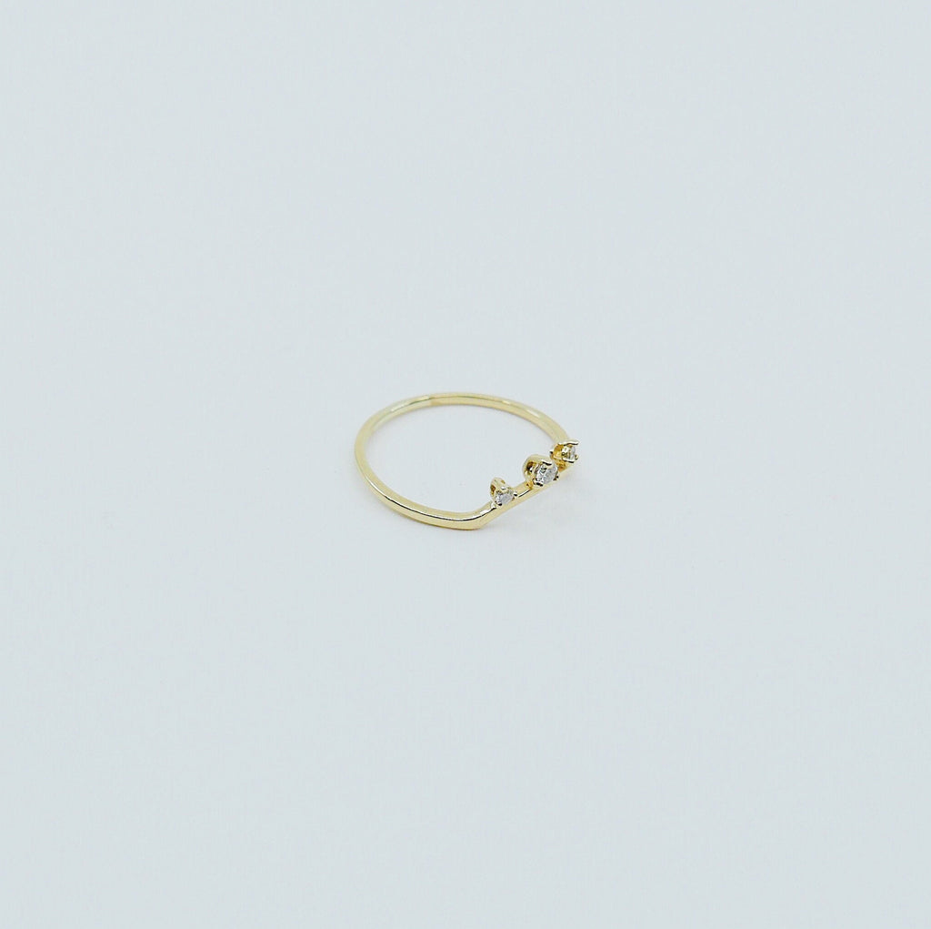 Scattered Diamond Nesting Ring, 14k gold arc ring, delicate dainty thin ring, thin band, stacking ring, wedding band, rose gold ring