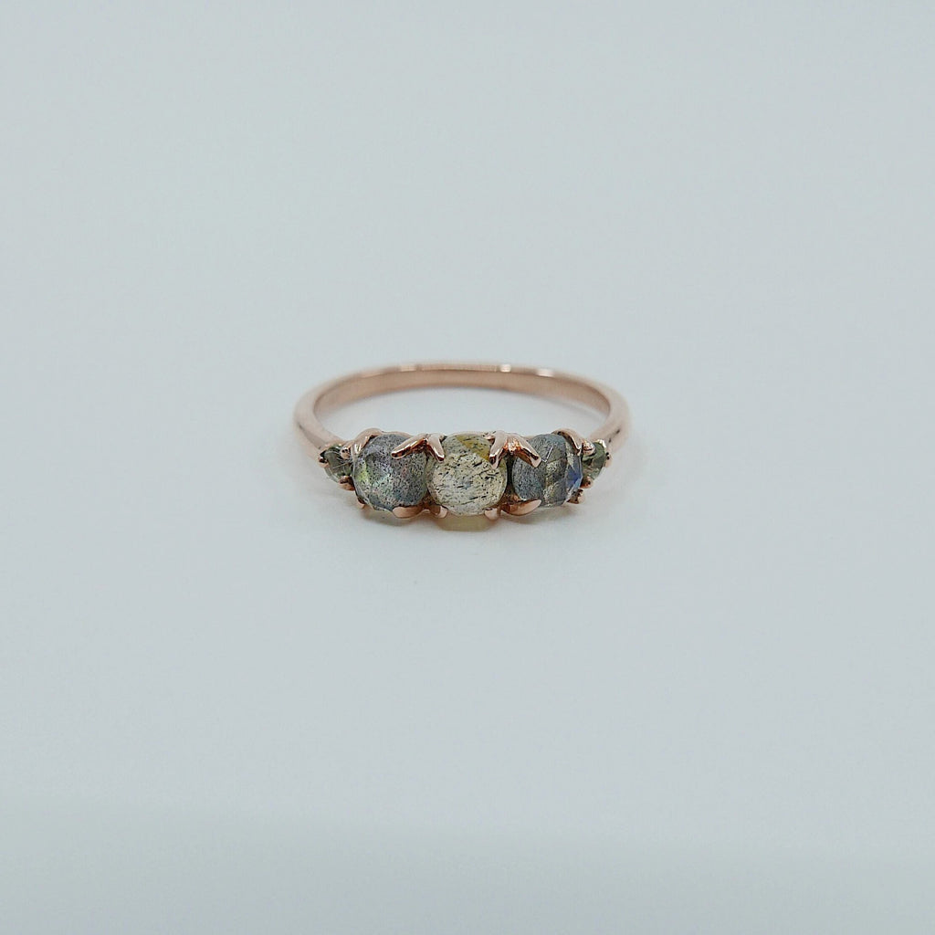 Hailey labradorite five stone ring, 5 stone band, rose cut labradorite and aquamarine ring, 14k gold stone ring, five stone ring