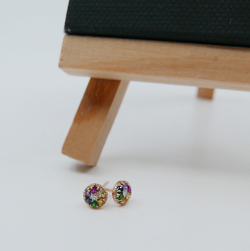 Painter's Palette Earring, 14k multicolor stone circle earring, mini diamond stud earring, rainbow circle hook earring