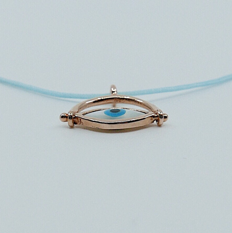 Eye Roll Cord Necklace, mother of pearl pendant, spinning charm, hamsa, third eye necklace, Protect me necklace