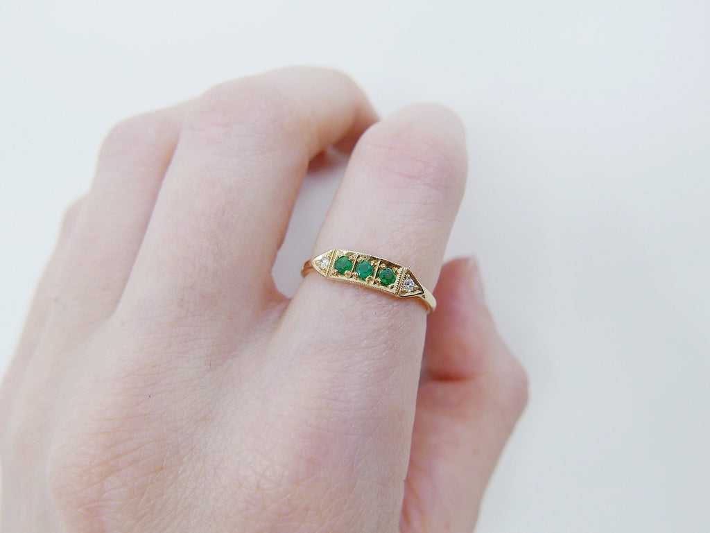 Ms. Goodbar Emerald ring, 14k Stacking ring, Diamond and emerald ring, Five stone ring, Diamond Bar ring, Emerald Bar ring, Dainty band