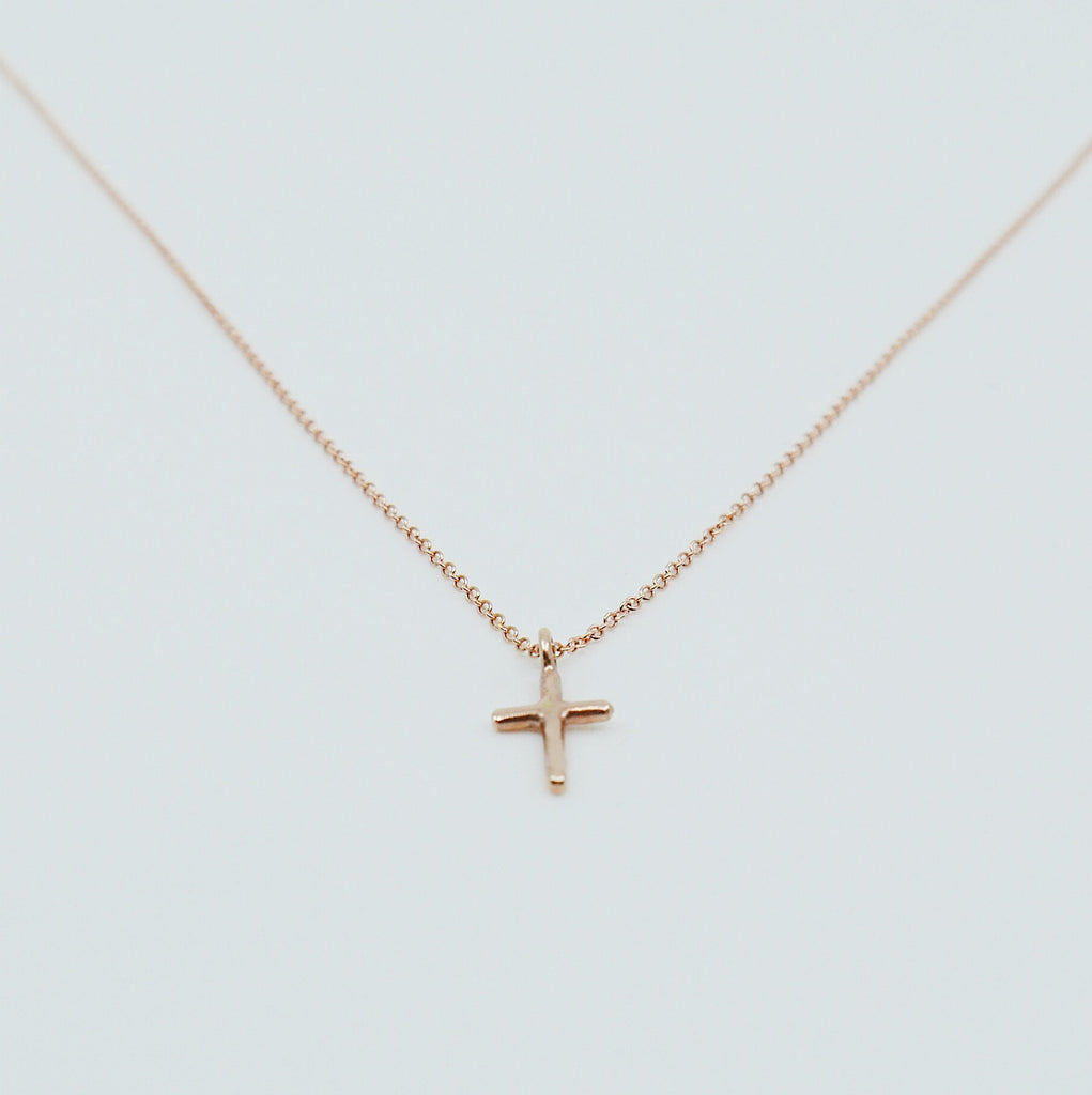 Mini Cross Necklace, 14k Gold Crucifix necklace, Small 14k cross necklace, Gold cross, Baptism necklace, Dainty gold cross necklace