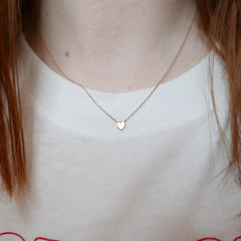 Heart of Gold necklace, mini 14k heart necklace, gold heart necklace, dainty heart necklace