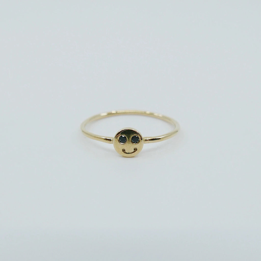 Happy face ring, Smiley ring, 14k gold emoji ring, face ring, smile ring, cute ring, smiley face ring, emoji ring
