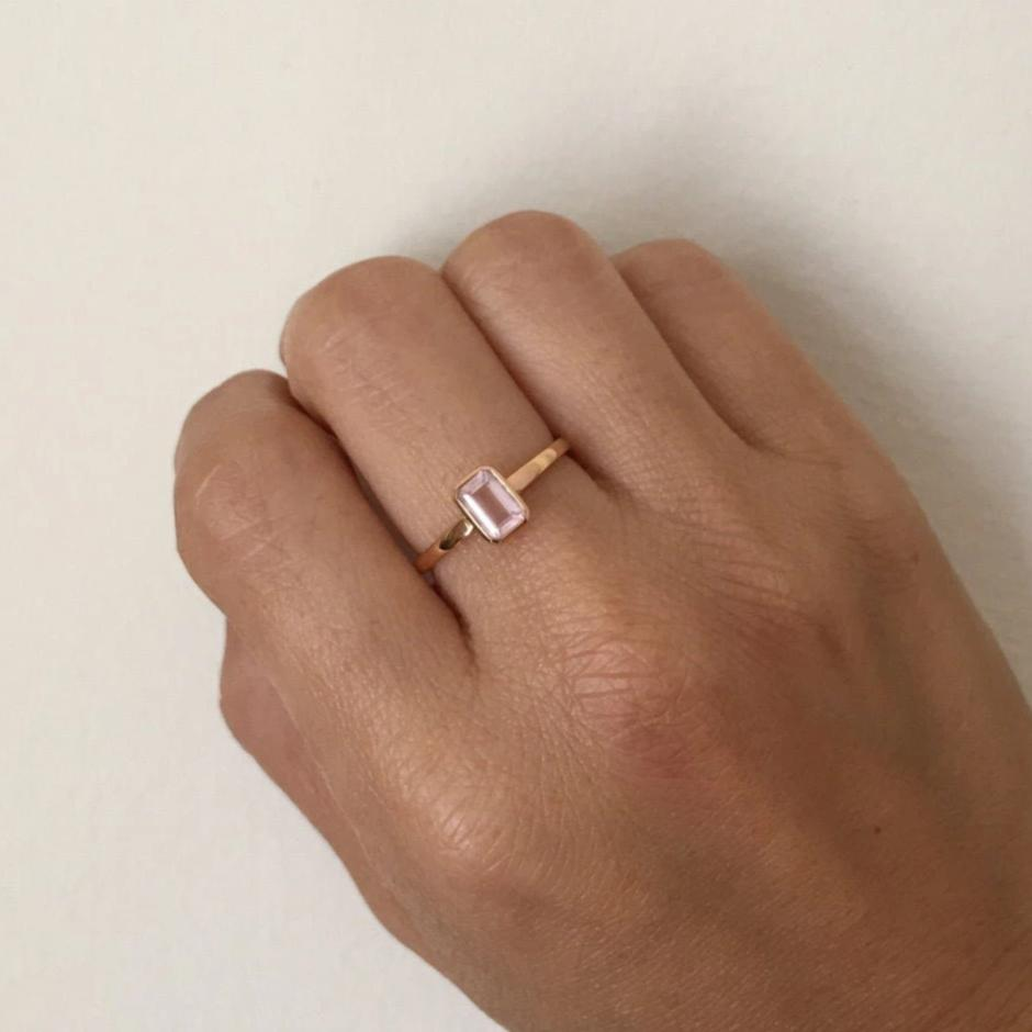SALE! Rose quartz bezel ring, 18k rose gold emerald cut pink quartz ring, pink stone ring,
