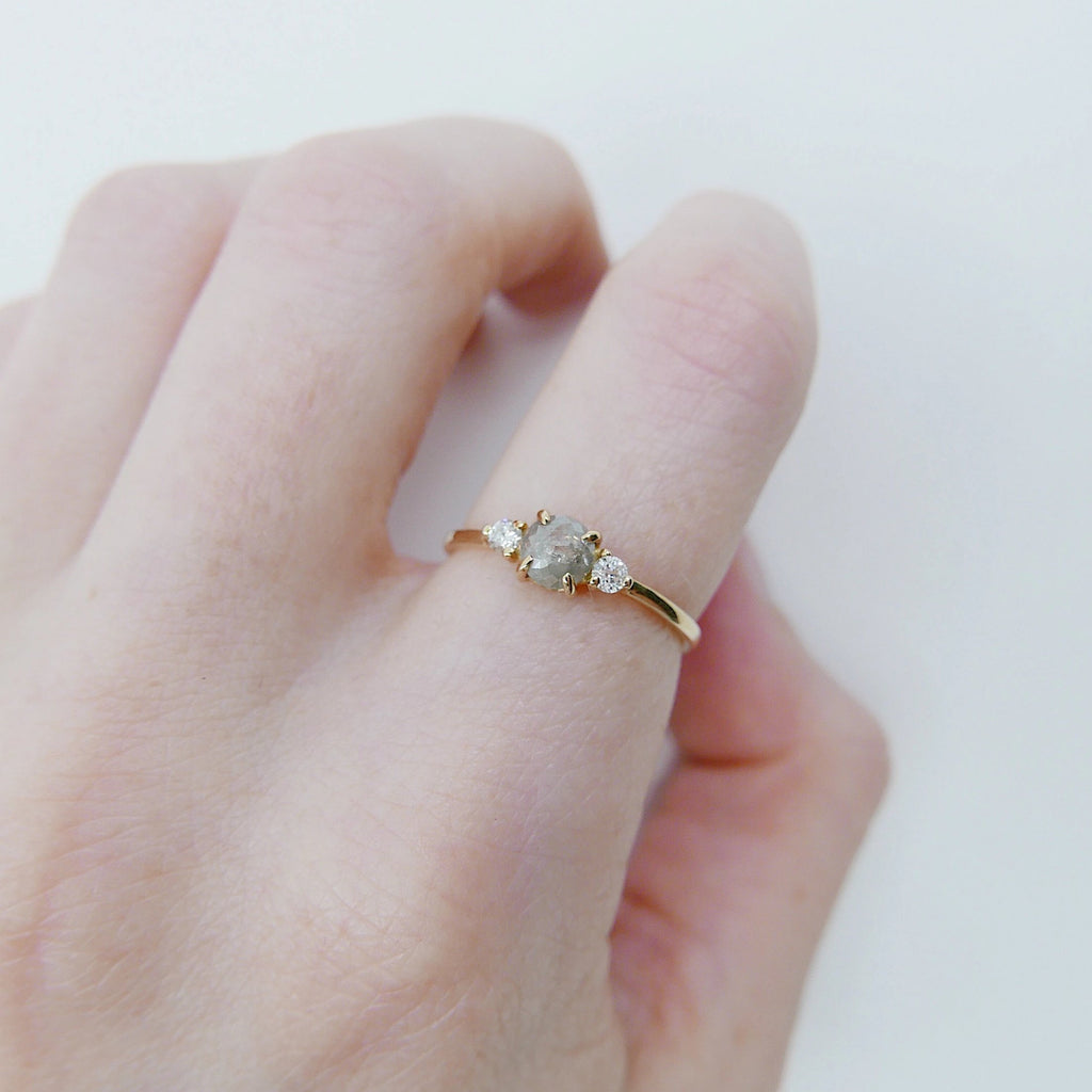 Penny rustic gray rosecut diamond ring, alternative wedding ring, unique non traditional engagement ring, three stone raw diamond ring