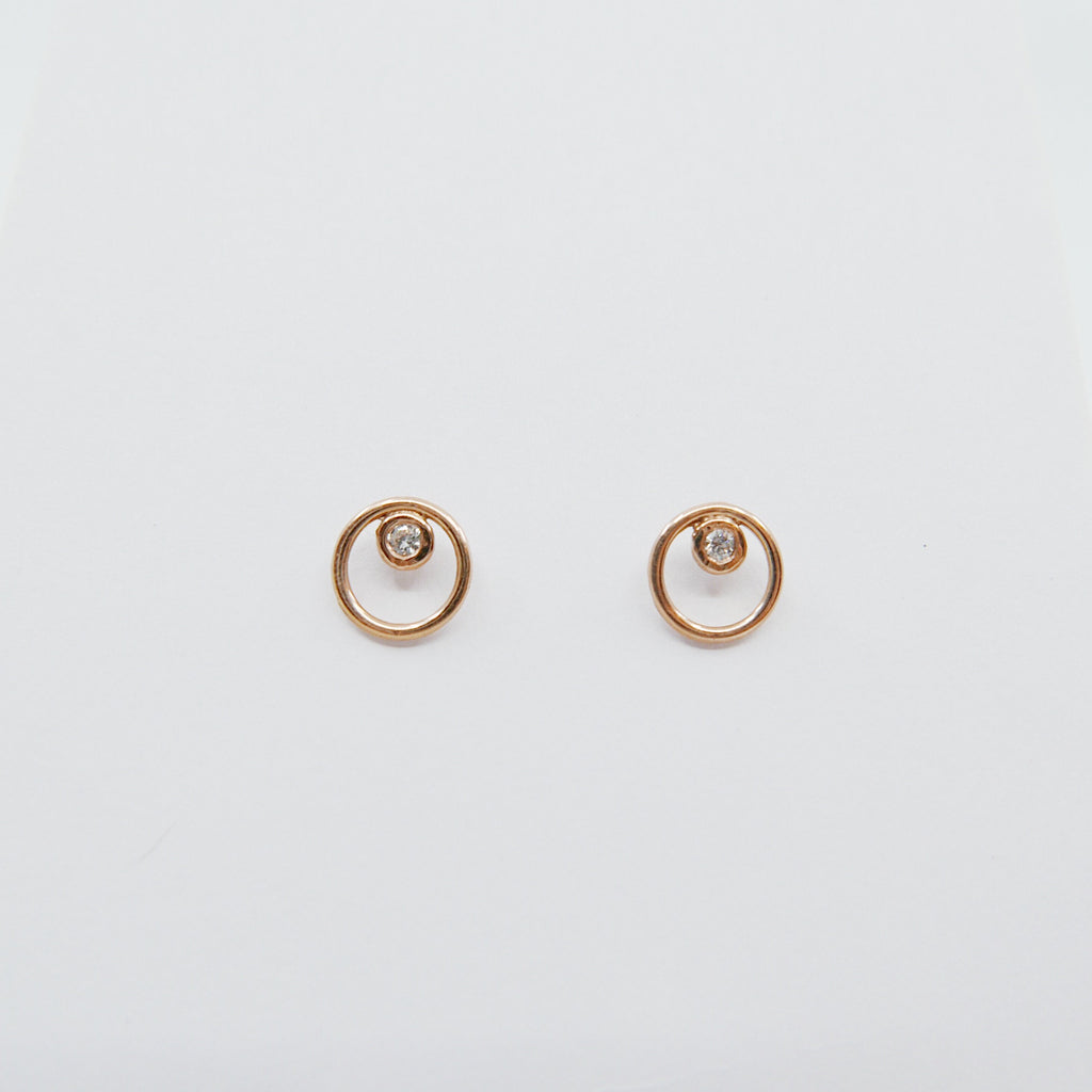 Full circle earrings, circle studs, diamond bezel studs, 14k circle diamond earrings, gold circle earrings, diamond bezel earrings