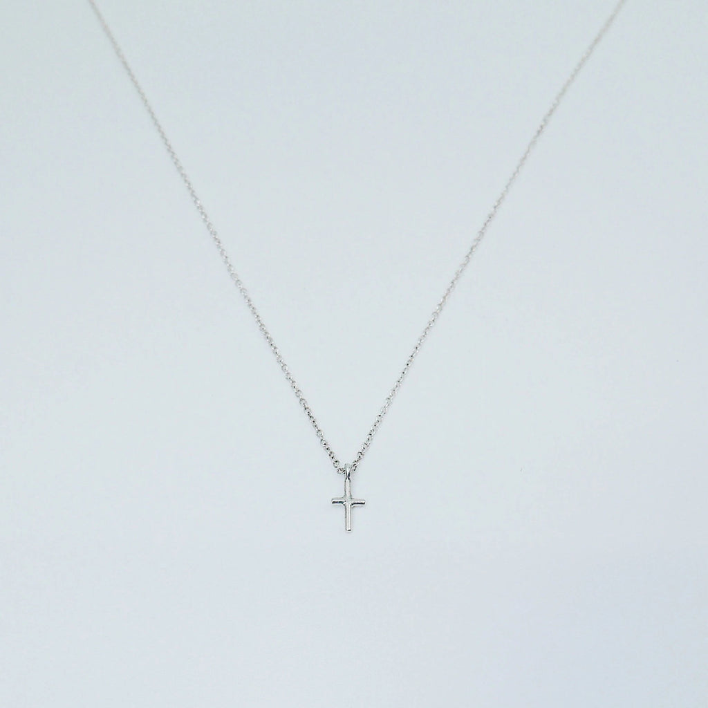 Mini cross necklace, silver crusifix necklace, small sterling silver cross necklace, baptism necklace, dainty cross necklace