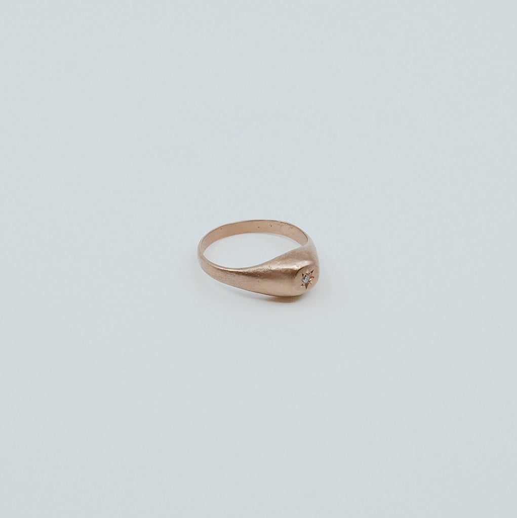 Dome Signet Pinky Ring, 14k diamond signet ring, signet ring, pinky ring, gold pinky ring, gold signet ring, diamond pinky ring
