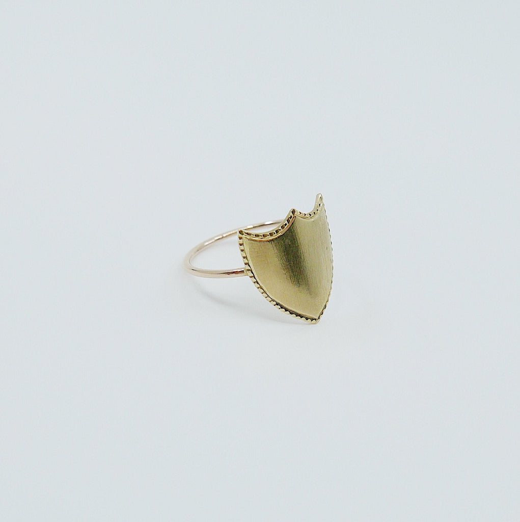 Shield Ring, 14k Monogramed ring, Shield ring, Customizable ring, personalized ring, 14k gold monogram ring, monogrammable ring