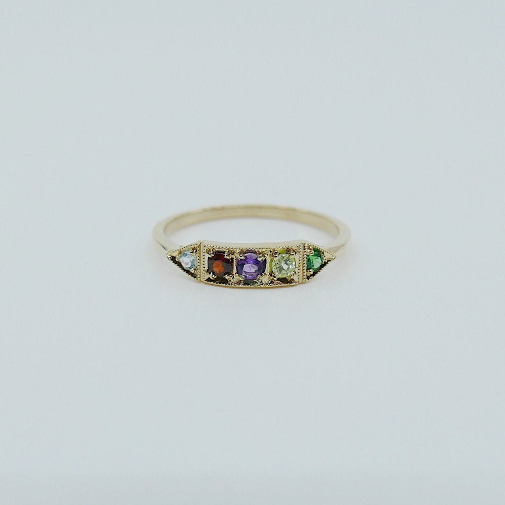 Ms. Goodbar AGAPE acrostic ring, 14k stacking ring, Aquamarine, Garnet, Amethyst, Peridot, and Emerald ring, engagement ring, acrostic ring