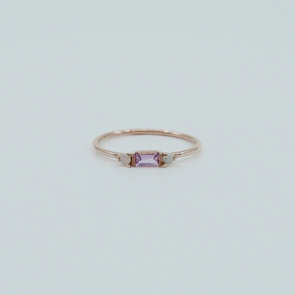 Limited Edition - Grand Baguette Sapphire Opal ring, 14k Stacking sapphire baguette ring, Three stone ring, Sapphire opal stacking ring