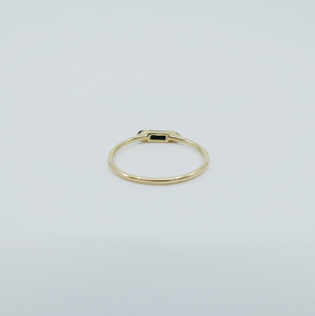 Grand Baguette Blackout Black Diamond ring, 14k Stacking diamond baguette ring, black Three stone ring, black gemstone stacking ring