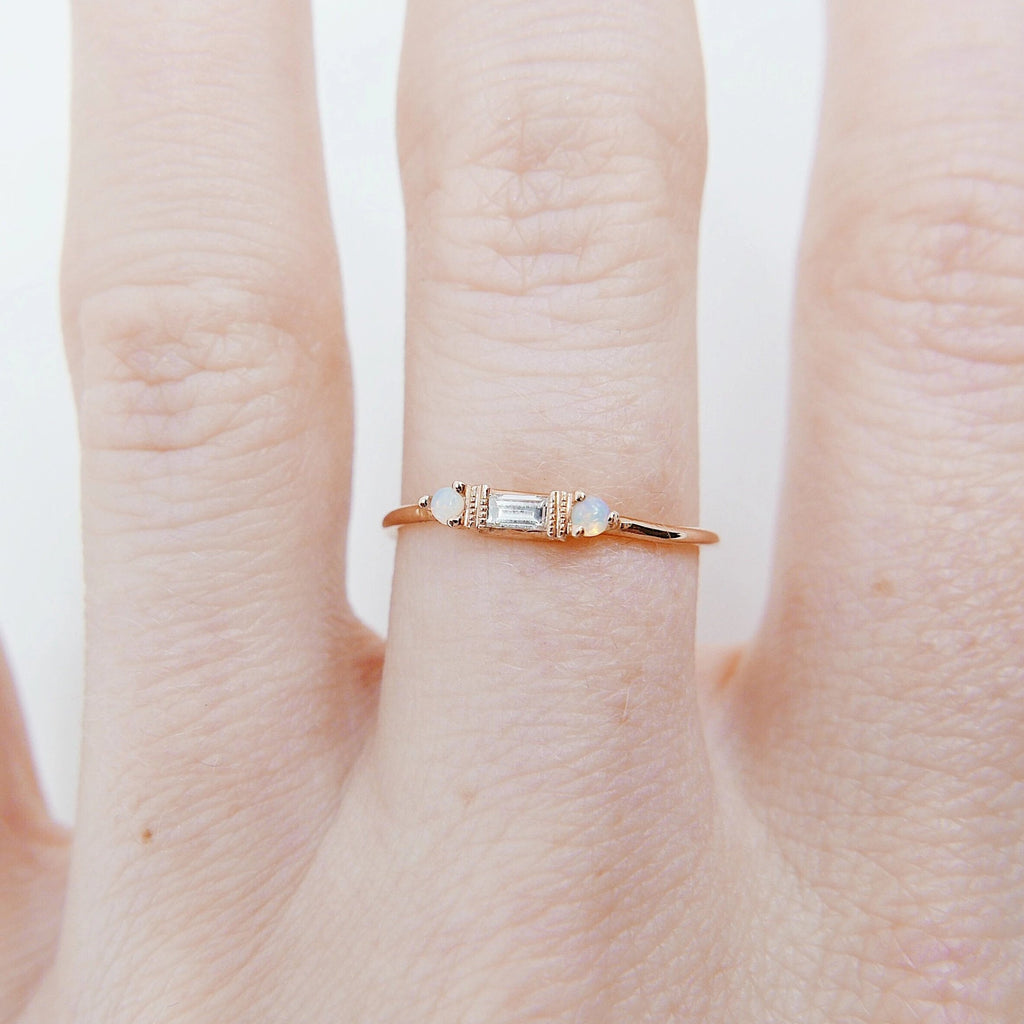 Grand Baguette Diamond with Opal ring, 14k Stacking diamond baguette ring, Three stone ring, diamond and opal stacking ring