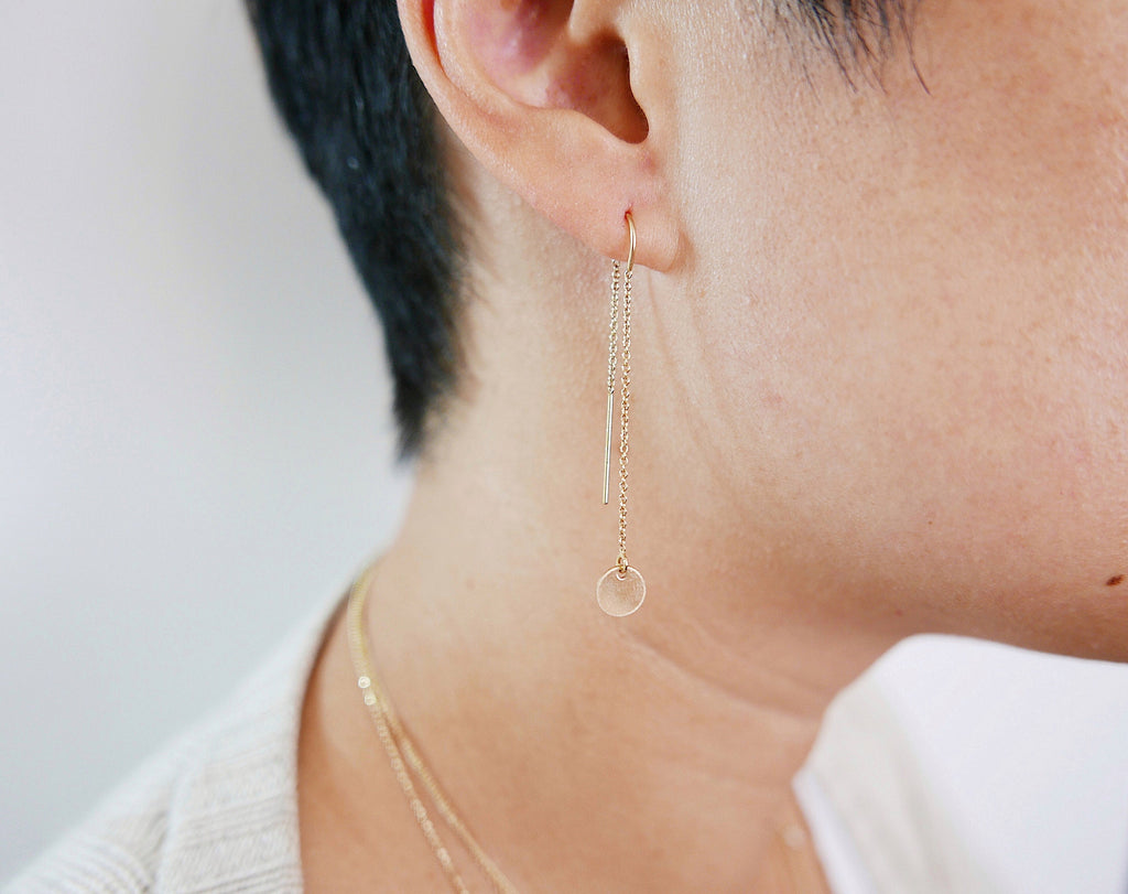 Solstice earrings, disc ear thread, Gold filled disc earring, Silver disc earring, Chain Thread Earrings, Circle Earrings, Gold Disc