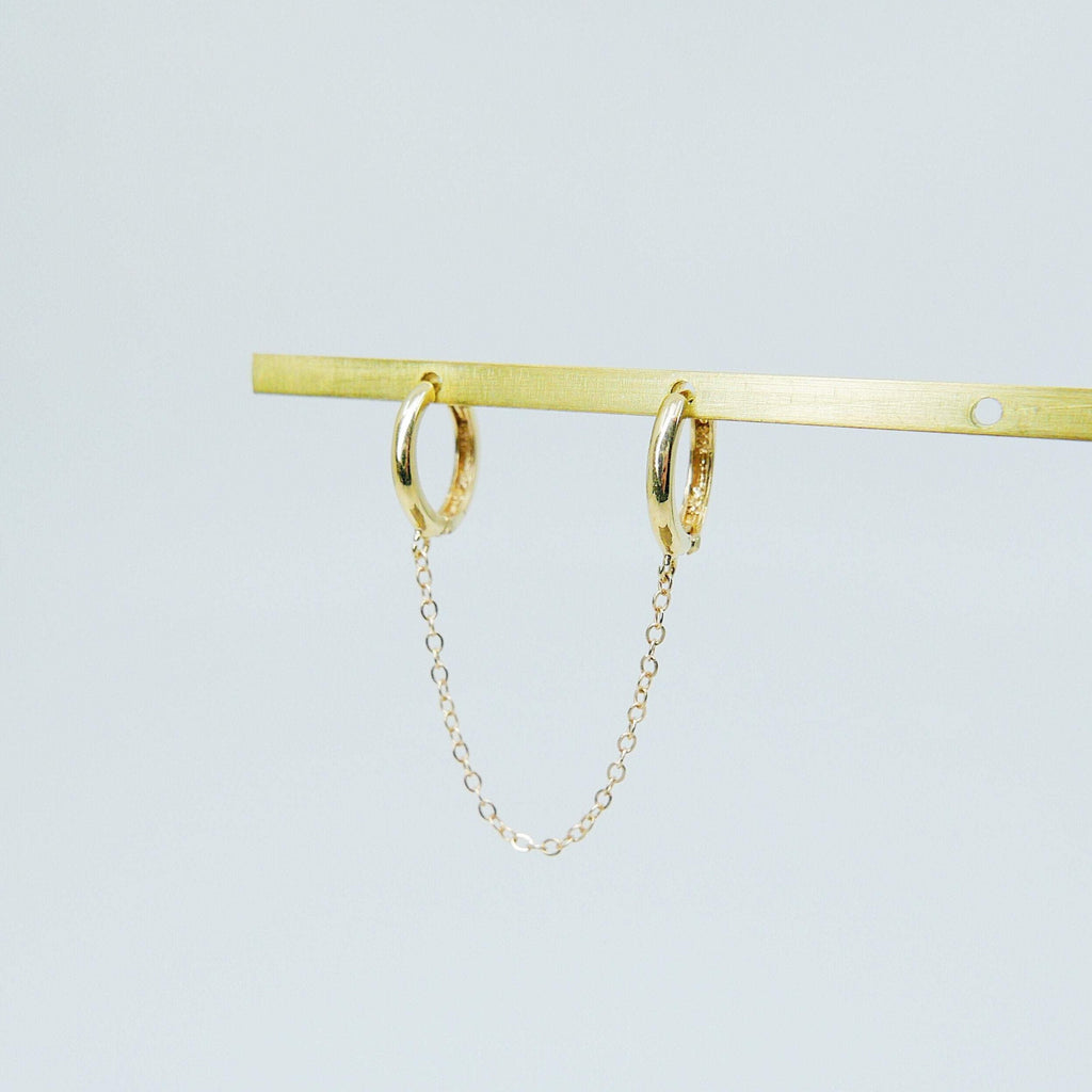 Chained Hoops, 14k gold small hoops, gold hoops with chain, small gold chained hoops, huggie hoops, double hoop single earring