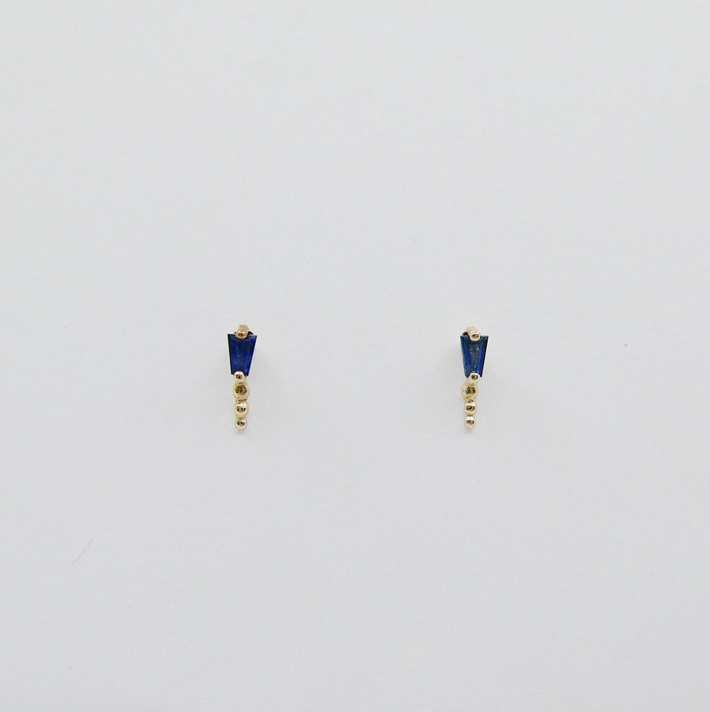 Ellipsis Tapered Baguette Stud, Baguette stud, Blue Sapphire Baguette Stud, 14k gold tapered stud, Triple Ball Stud
