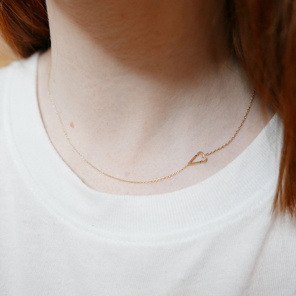 Internet Love necklace, Emoticon necklace, 14k Heart necklace, 14k love necklace, Gold heart, Heart Necklace, Emoticon Heart, Love Necklace