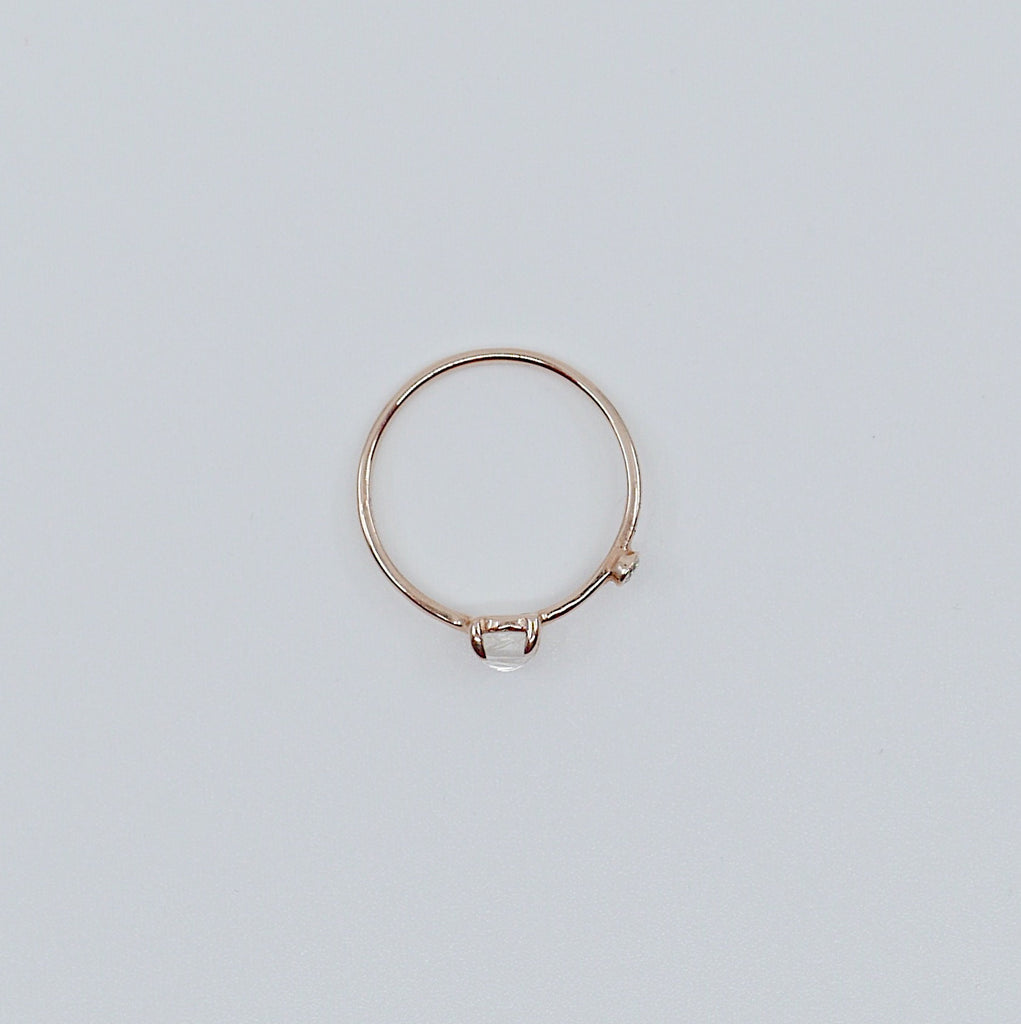Moonstone Duet Ring (Medium), moonstone and diamond ring, gold rainbow moonstone ring, stacking ring, two stone band, promise ring, gold