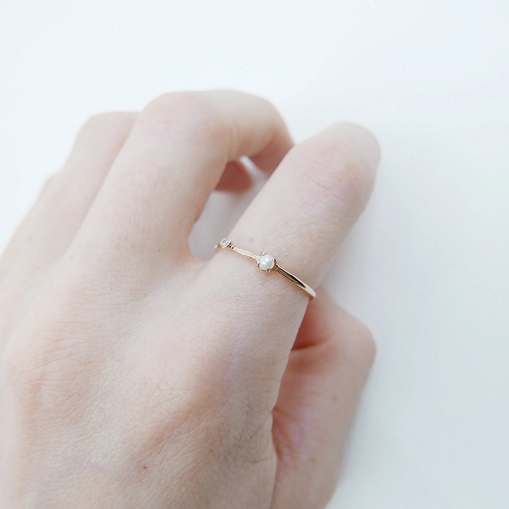Pearl Duet Ring (Small), 14k Diamond and Pearl Ring, Mini Pearl Ring, Two Stone Band, Stacking Bands, Stacking Rings, 14k Gold Band, Wedding