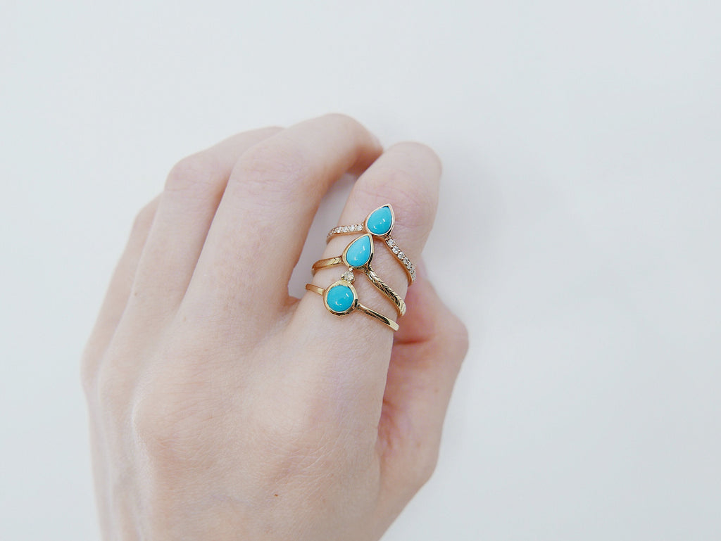 Turquoise Pave Peak Ring, Gold Diamond Turquoise ring, Turquoise stacking ring, Diamond layering band, Wedding band, wedding ring