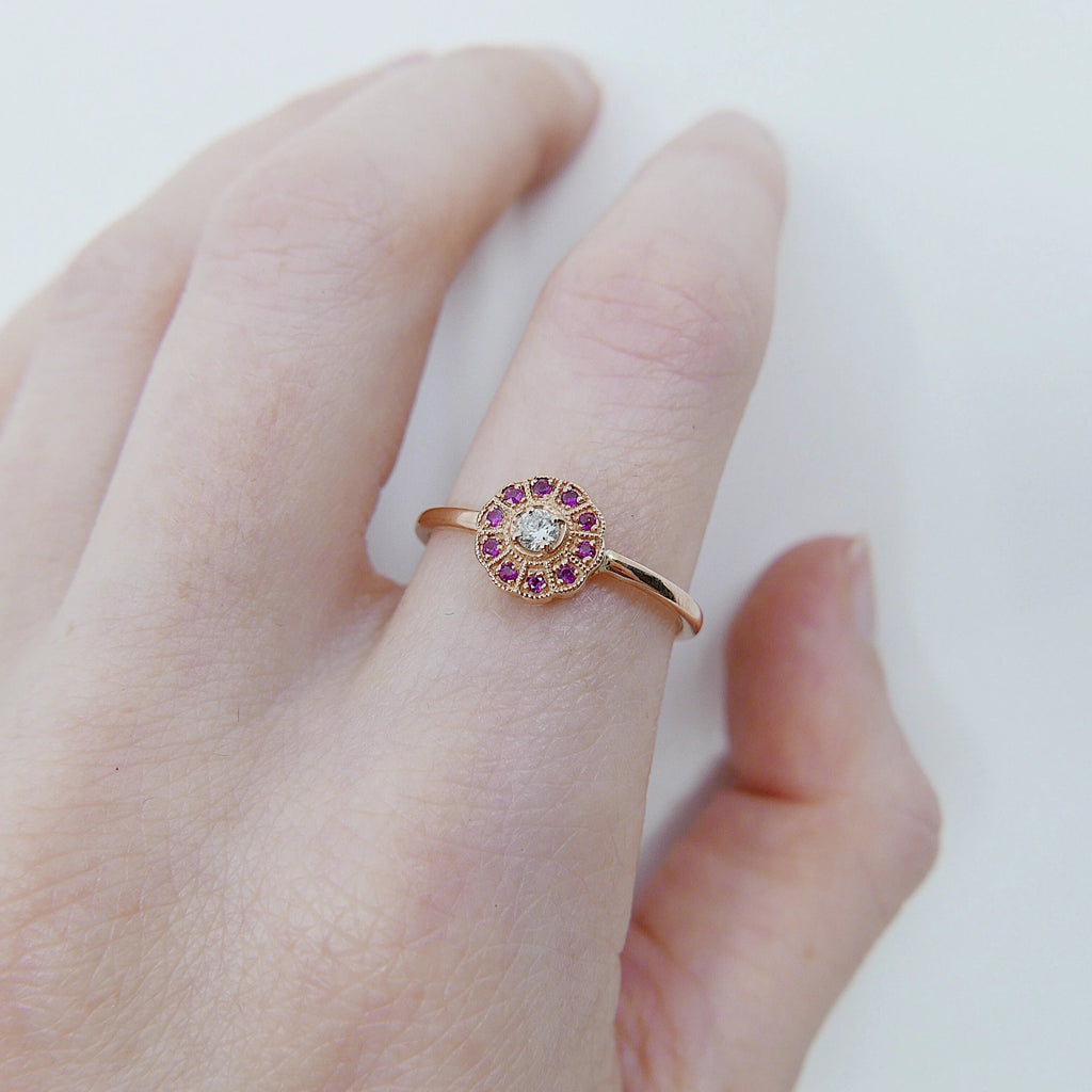 Flora Ruby ring, Gold Ruby flower ring, 14k gold ruby and diamond cluster ring, alternative engagement ring