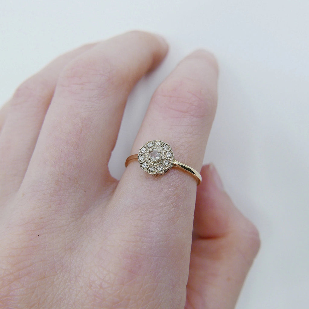 Flora Two Tone Rose Cut Diamond ring, rose cut diamond engagement ring, alternative engagement, diamond birthstone,two tone cluster ring