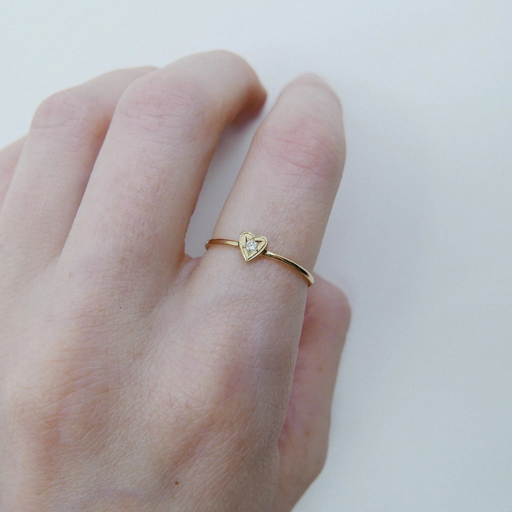 14k gold heart ring, Heart and stone ring, 14k love and diamond ring, mini heart ring, stacking ring