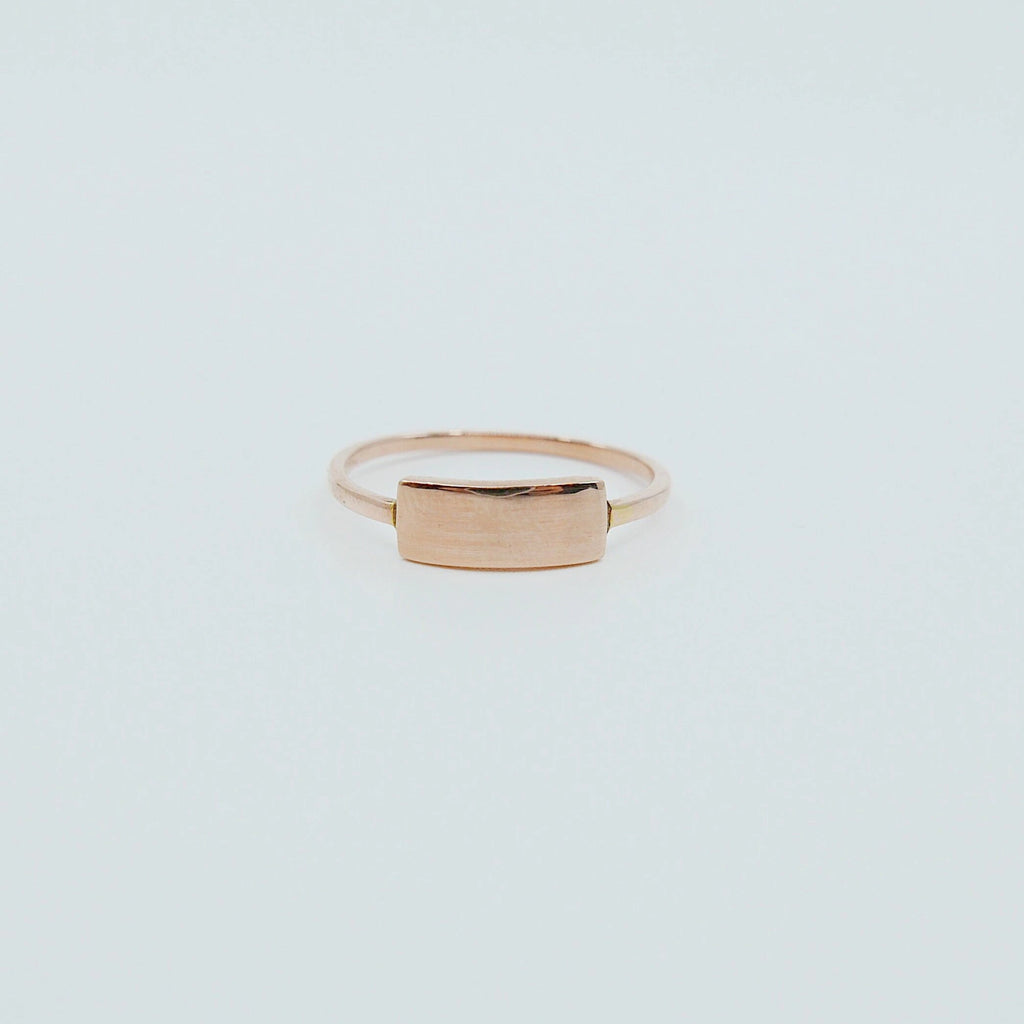 Slim ID Ring Small, personalized ring, bar ring, customizable ring, 14k gold personalized ring, 14k gold bar ring