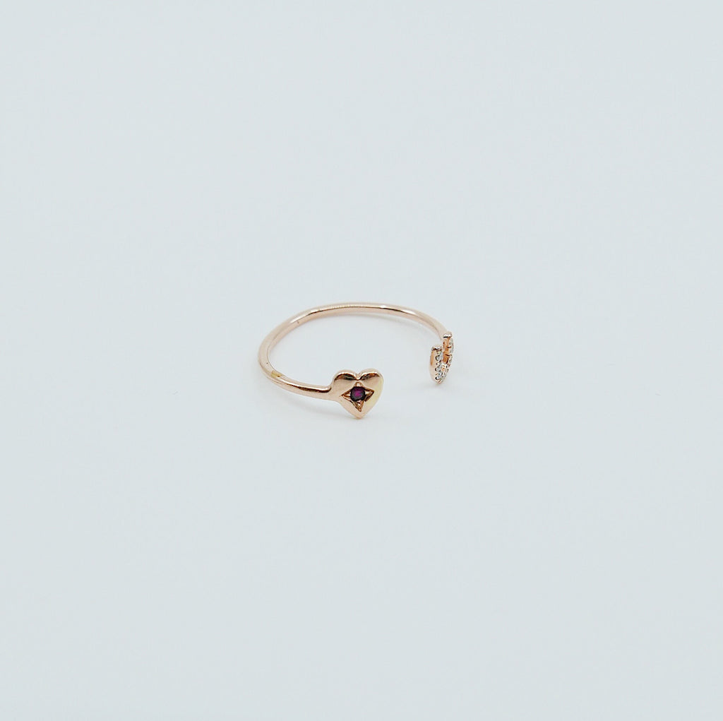 Love U Ring, 14k love you open ring, heart you cuff ring, 14k open diamond ring