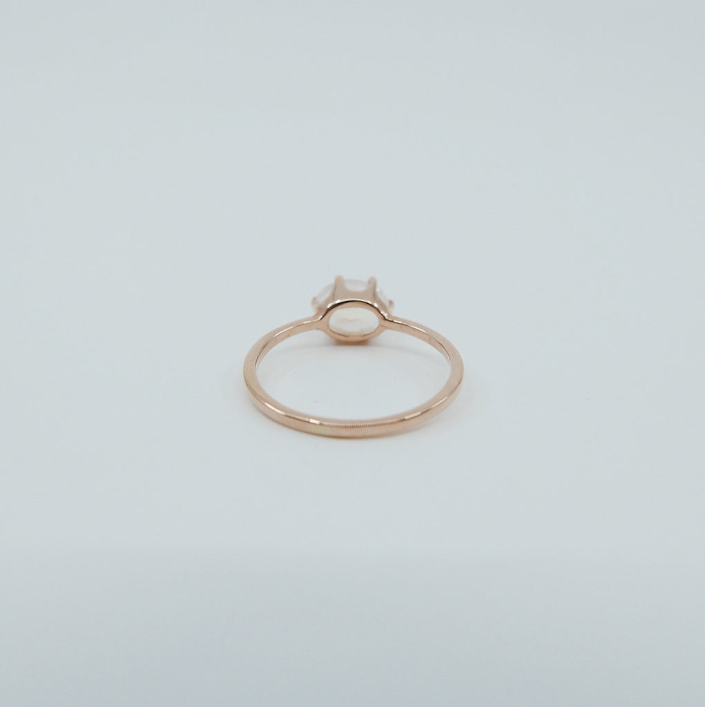 Margaux Moonstone Ring, rainbow Moonstone ring, gold solitaire ring, oval moonstone ring, 14k gold simple prong ring