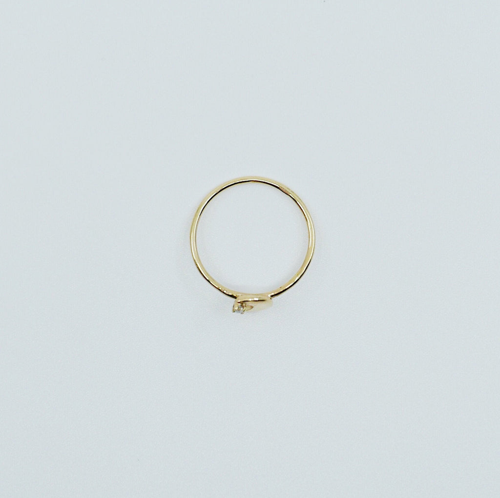 Crescent Moon ring, 14k moon and star ring, moon and diamond ring, crescent ring, 14k gold crescent moon ring, diamond ring