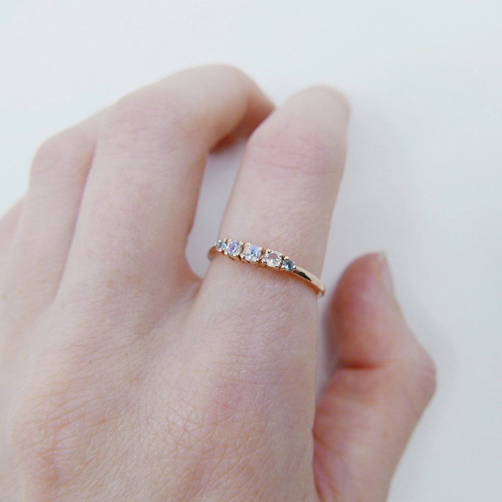 Riley moonstone and aquamarine ring, 5 stone gold ring,  Moonstone aquamarine ring, 14k gold moonstone ring, rainbow moonstone band