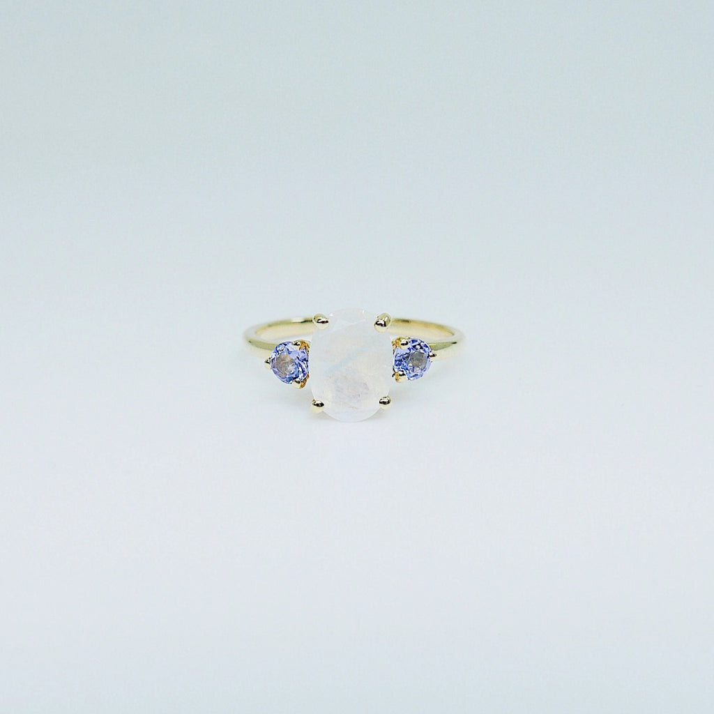 Oval moonstone ring, three stone ring, moonstone and tanzanite ring, 14k gold moonstone ring, north south ring