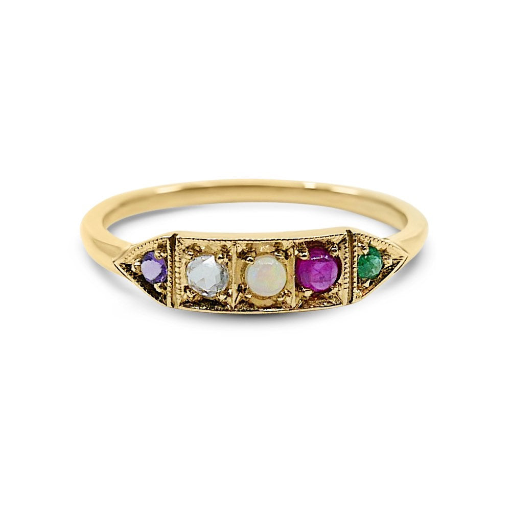 Ms. Goodbar ADORE acrostic ring, 14k Stacking ring, Amethyst, Diamond, Opal, Ruby and Emerald ring, Five stone ring, acrostic ring