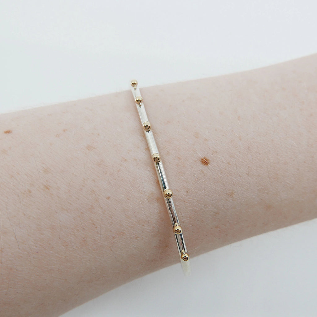 Studded Cuff Bracelet, Sterling Silver Studded Bracelet, 14k Gold Studded Bracelet, Two Tone Bracelet, Mixed Metals Bracelet