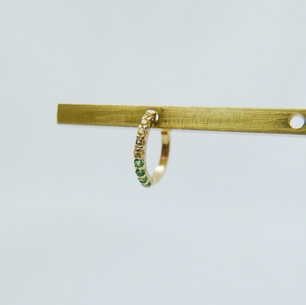 Mini Bi-Color Hoop Earring, Yellow Sapphire and Tsavorite Hoop Earring, Yellow and Green Earring, Bi-Color Hoop Earring