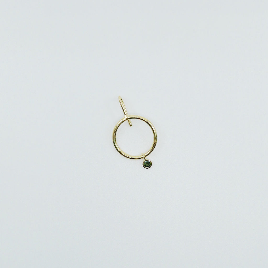 Open Hoop Drop Tourmaline Earring, Open Hoop 14k Gold Earring, Green Tourmaline Hoop, Fish Hook Open Hoop Earring