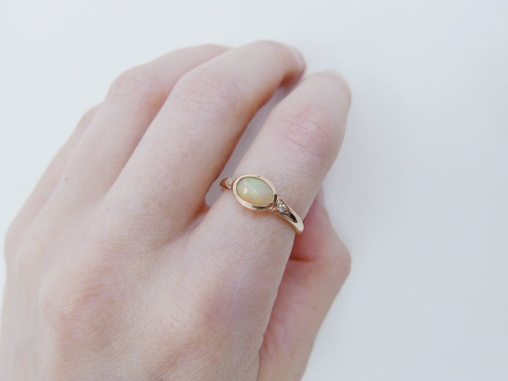 Opal Signet Ring, three stone opal ring, opal and diamond ring, 14k gold bold opal ring, oval opal ring, oval bezel opal ring