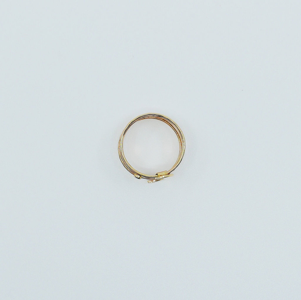 Large Crescent Moon with Diamond Stacking Ring, stacking ring set, gold crescent moon and diamond ring, crecent moon diamond stacking ring